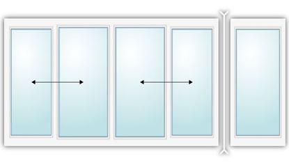 Изображение Алюминиевая раздвижная балконная рама с одним поворотам