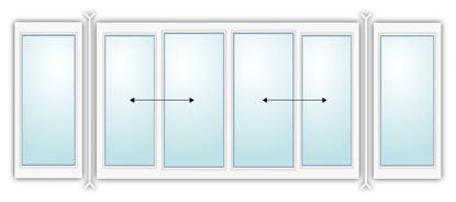 Изображение Алюминиевая раздвижная балконная рама с двумя поворотами
